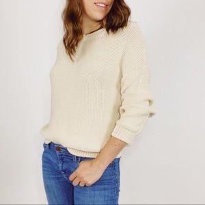 VINCE Cream Chunky Kit Crewneck Sweater